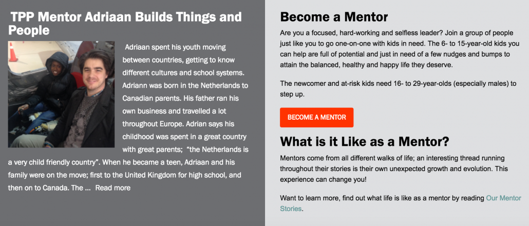 mentors appeal on the peer project's website