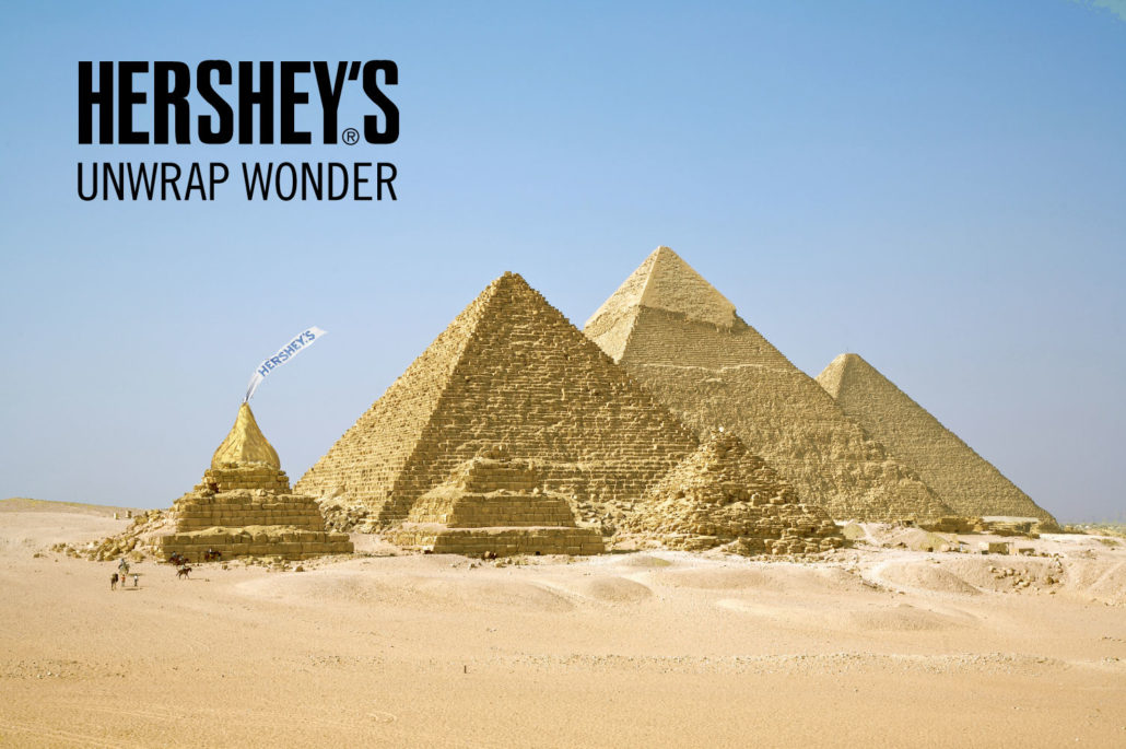 unwrap wonder: pyramids of Gyza with a hershey's kiss as the top of one pyramid