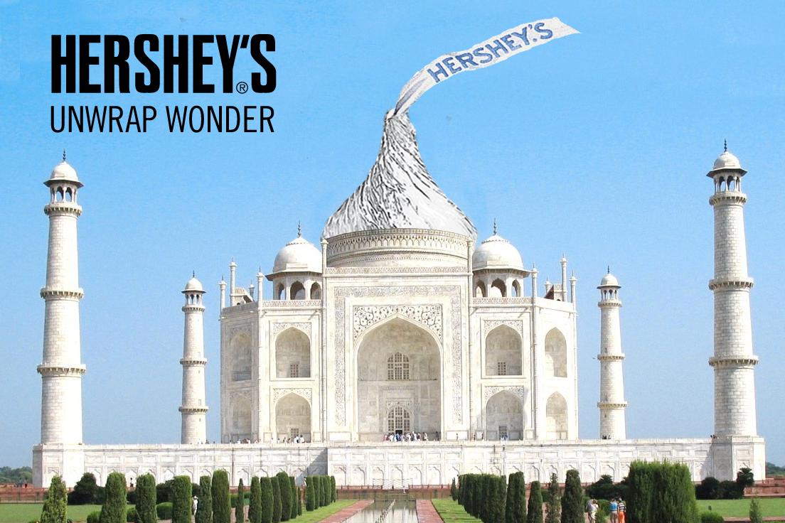 Unwrap wonder: chocolate kiss atop the Taj Mahal